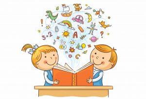 איור של ילדים לעמוד השאלת ספרים דיגיטליים בספריות
